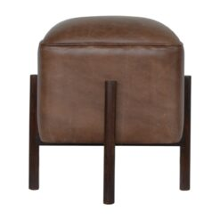 IN1153 - Brown Leather Footstool with Solid Wood Legs
