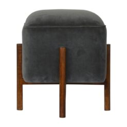 IN1220 - Grey Velvet Footstool with Solid Wood Legs