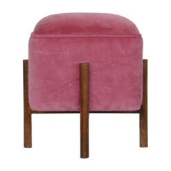 IN1222 - Pink Velvet Footstool with Solid Wood Legs