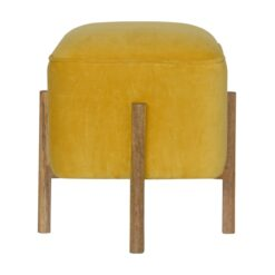 IN1273 - Mustard Velvet Footstool with Solid Wood Legs