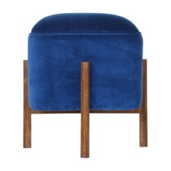 IN1370 - Royal Blue Velvet Footstool with Solid Wood Legs