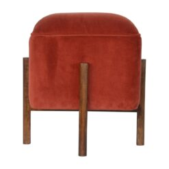 IN1372 - Brick Red Velvet Footstool with Solid Wood Legs