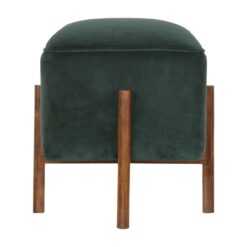 IN1373 - Emerald Velvet Footstool with Solid Wood Legs