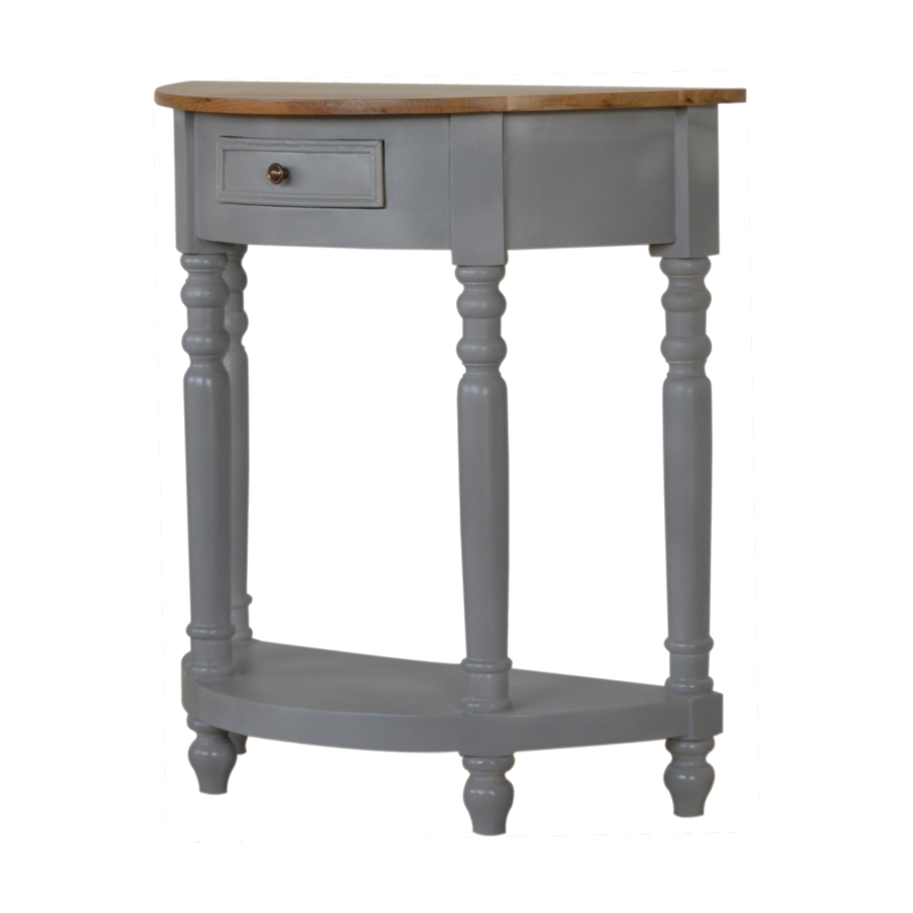 IN505-Grey-Painted-1-Drawer-Serpentine-Table-with-Turned-Legs-1