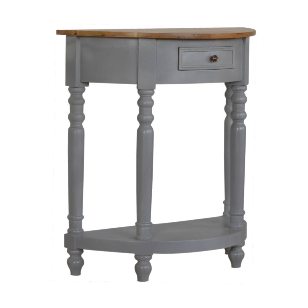 IN505-Grey-Painted-1-Drawer-Serpentine-Table-with-Turned-Legs-2