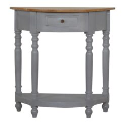 IN505 - Grey Painted 1 Drawer Serpentine Table with Turned Legs