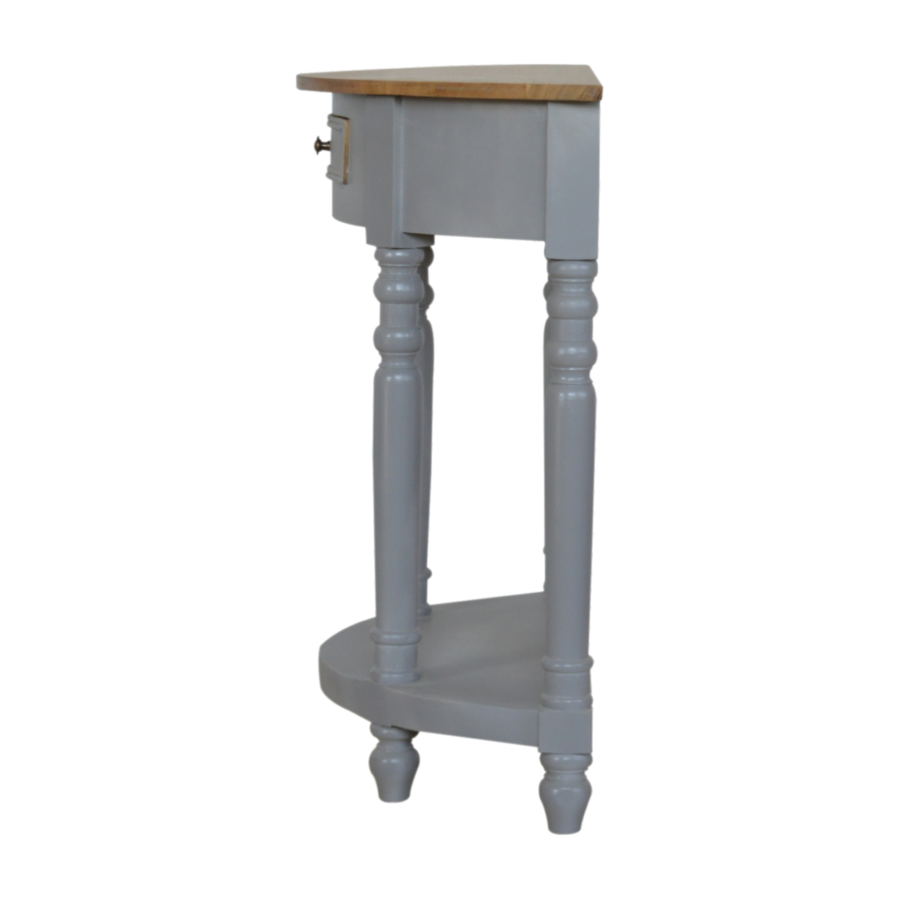 IN505-Grey-Painted-1-Drawer-Serpentine-Table-with-Turned-Legs-7