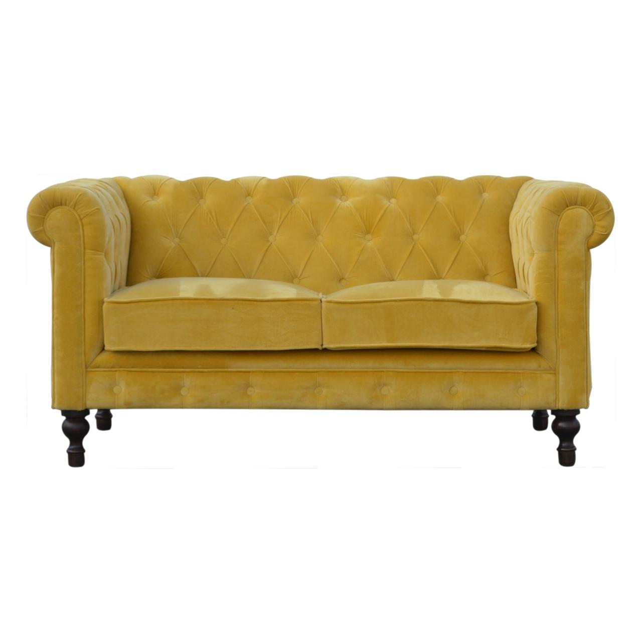 IN814 - Mustard Velvet 2 Seater Chesterfield Sofa