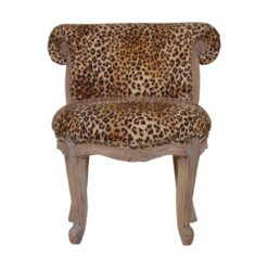 IN877- Leopard Print Studded Chair with Cabriole Legs