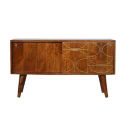 IN945-Chestnut Gold Inlay Abstract Sideboard