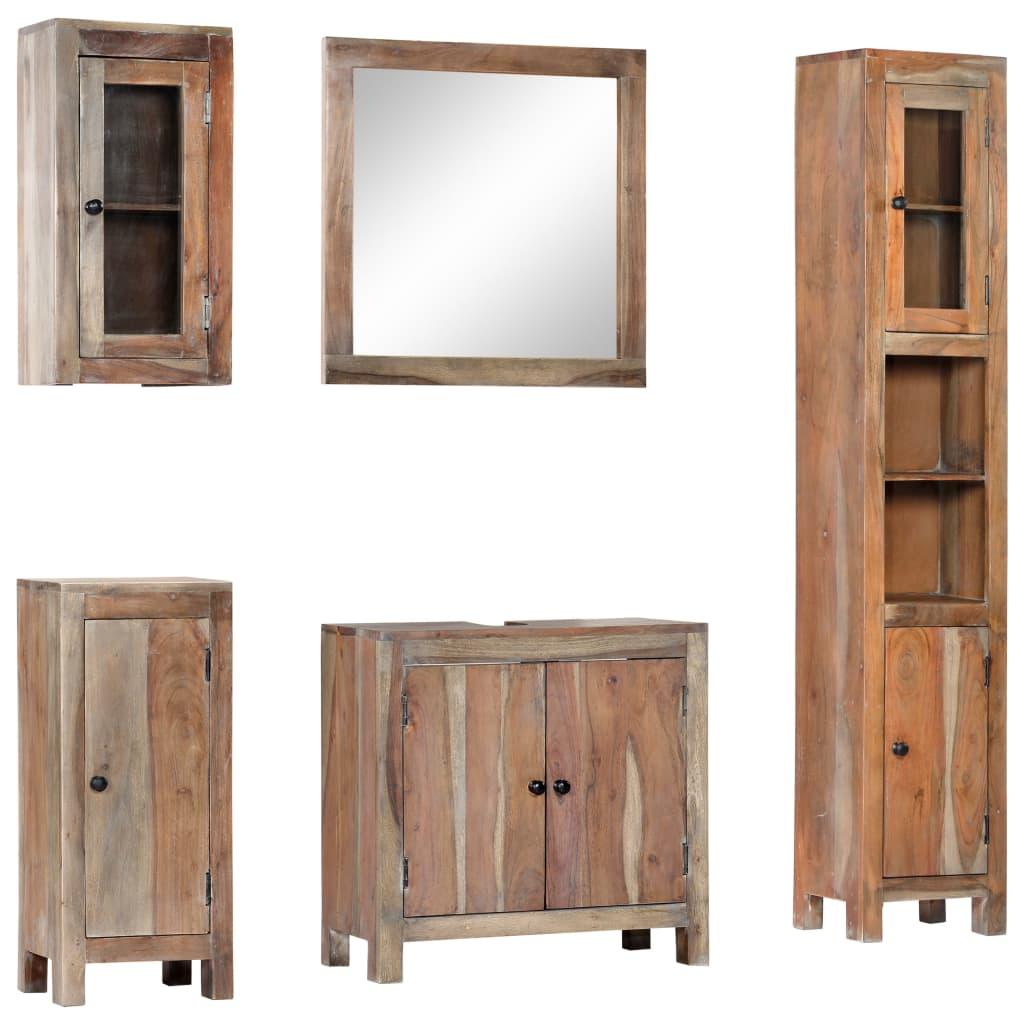 5 Piece Bathroom Set Solid Acacia Wood | Furniture Supplies UK