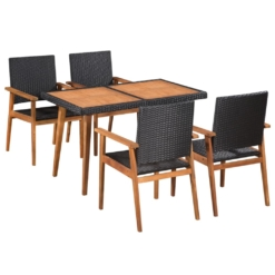5 Piece Outdoor Dining Set Poly Rattan Black and Brown | Furniture Supplies UK