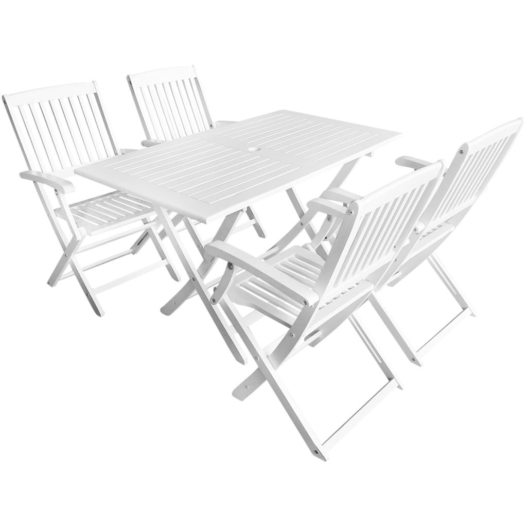 5 Piece Outdoor Dining Set Solid Acacia Wood White | Furniture Supplies UK