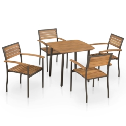 5 Piece Outdoor Dining Set Solid Acacia Wood and Steel | Furniture Supplies UK