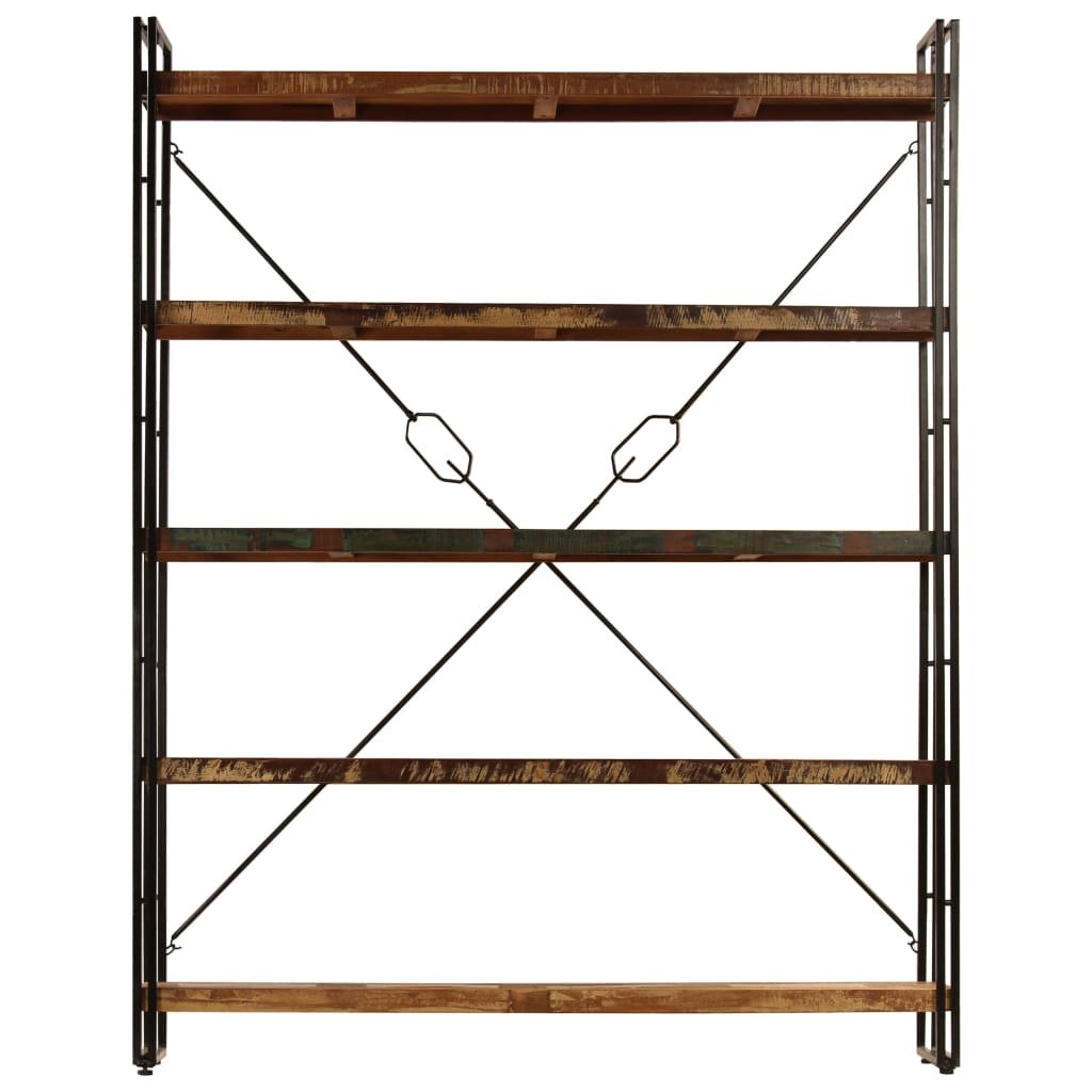 5-Tier Bookcase 180x30x140 cm Solid Reclaimed Wood      Multicolour