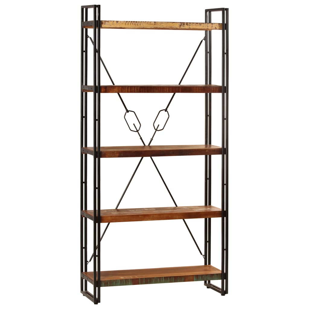 5-Tier Bookcase 90x30x180 cm Solid Reclaimed Wood   Furniture Supplies UK