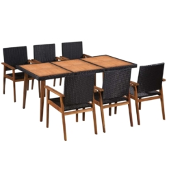 7 Piece Outdoor Dining Set Poly Rattan Black and Brown | Furniture Supplies UK