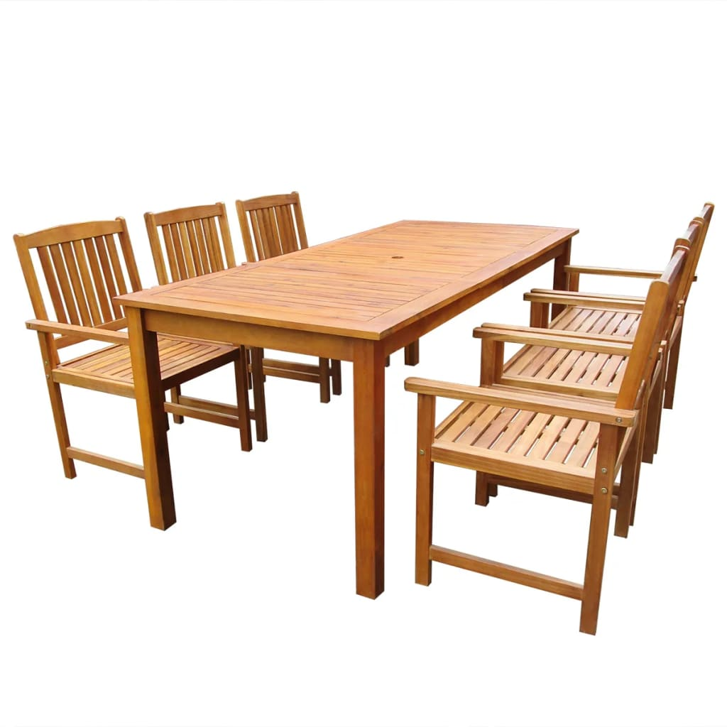 7 Piece Outdoor Dining Set Solid Acacia Wood | Furniture Supplies UK