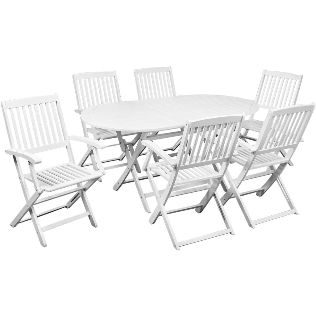 7 Piece Outdoor Dining Set Solid Acacia Wood White | Furniture Supplies UK