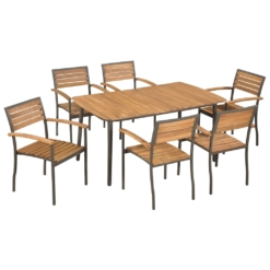 7 Piece Outdoor Dining Set Solid Acacia Wood and Steel | Furniture Supplies UK