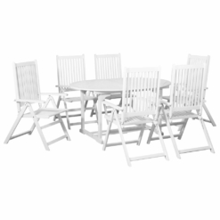 7 Piece Outdoor Dining Set Wood White with Extendable Table | Furniture Supplies UK