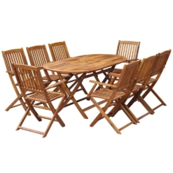 9 Piece Folding Outdoor Dining Set Solid Acacia Wood | Furniture Supplies UK