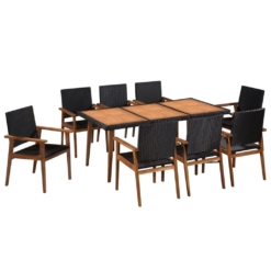 9 Piece Outdoor Dining Set Poly Rattan Black and Brown | Furniture Supplies UK