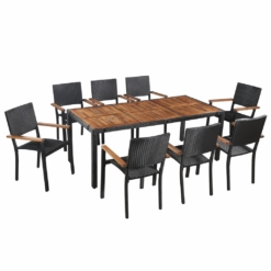 9 Piece Outdoor Dining Set Poly Rattan and Acacia Wood Black | Furniture Supplies UK