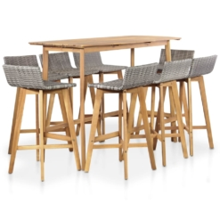 9 Piece Outdoor Dining Set Solid Acacia Wood | Furniture Supplies UK