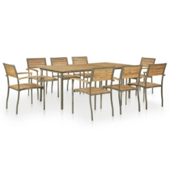 9 Piece Outdoor Dining Set Solid Acacia Wood and Steel | Furniture Supplies UK