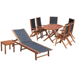 9 Piece Outdoor Dining Set with Cushions Solid Acacia Wood | Furniture Supplies UK