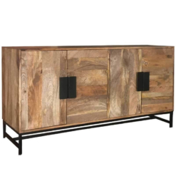 Agra Light Mango 4 Door Sideboard | Furniture Supplies UK