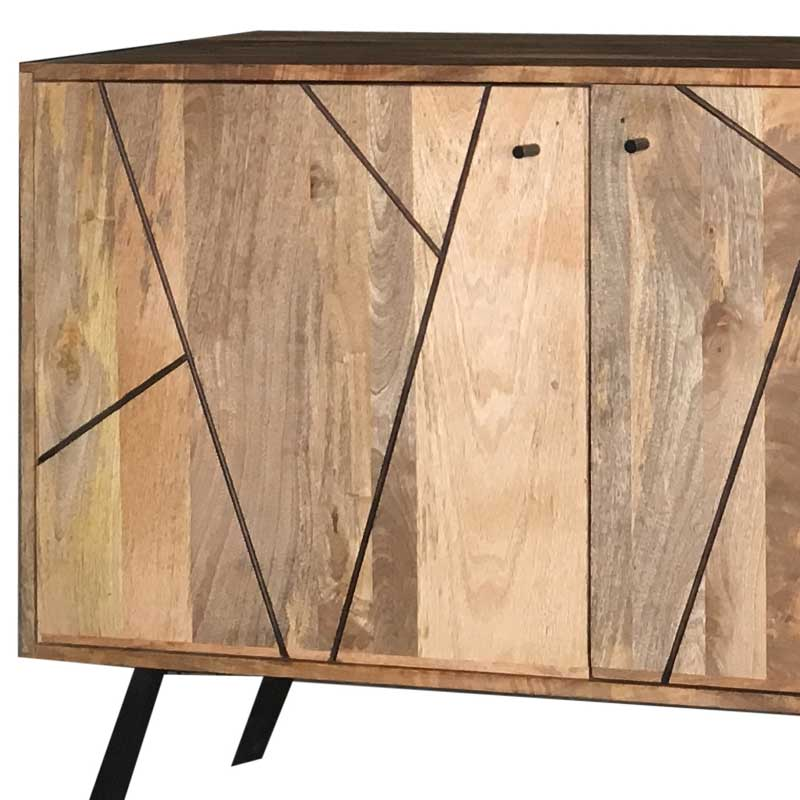 Amar Retro Vintage Light Mango 2 Door Sideboard | Solid Wood |