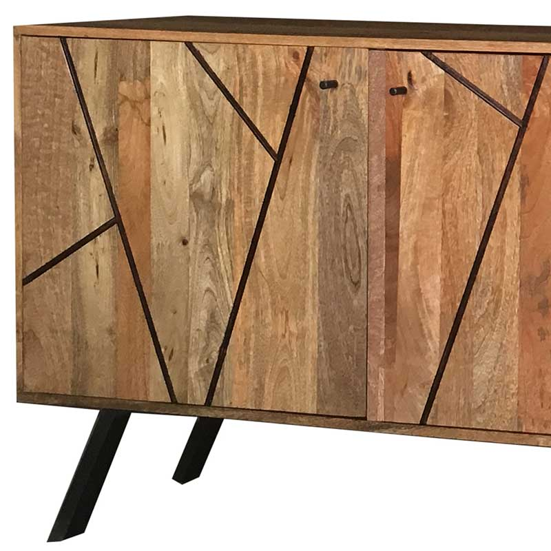Amar Retro Vintage Light Mango 3 Door Sideboard   Solid Wood  