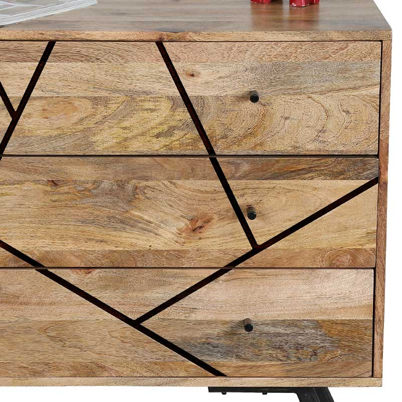 Amar Retro Vintage Light Mango 3 Drawer Chest | Solid Wood |