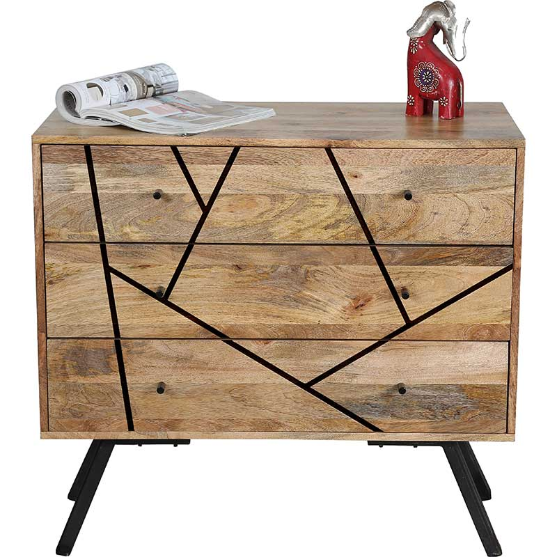 Amar Retro Vintage Light Mango 3 Drawer Chest | Furniture Supplies UK
