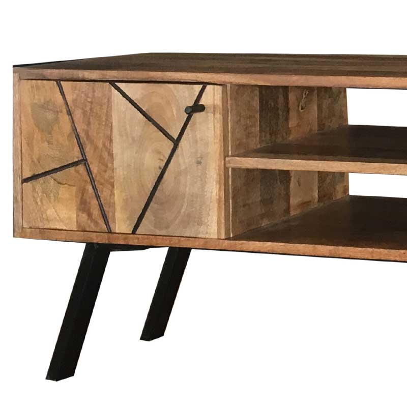 Amar Retro Vintage Light Mango Plasma TV Unit | Solid Wood |