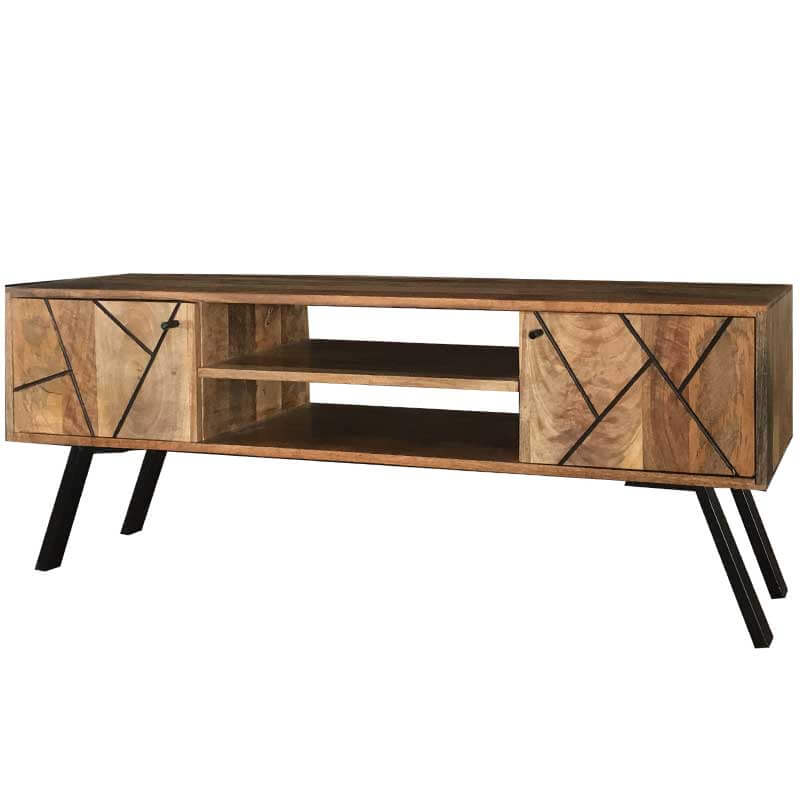 Amar Retro Vintage Light Mango Plasma TV Unit | Furniture Supplies UK