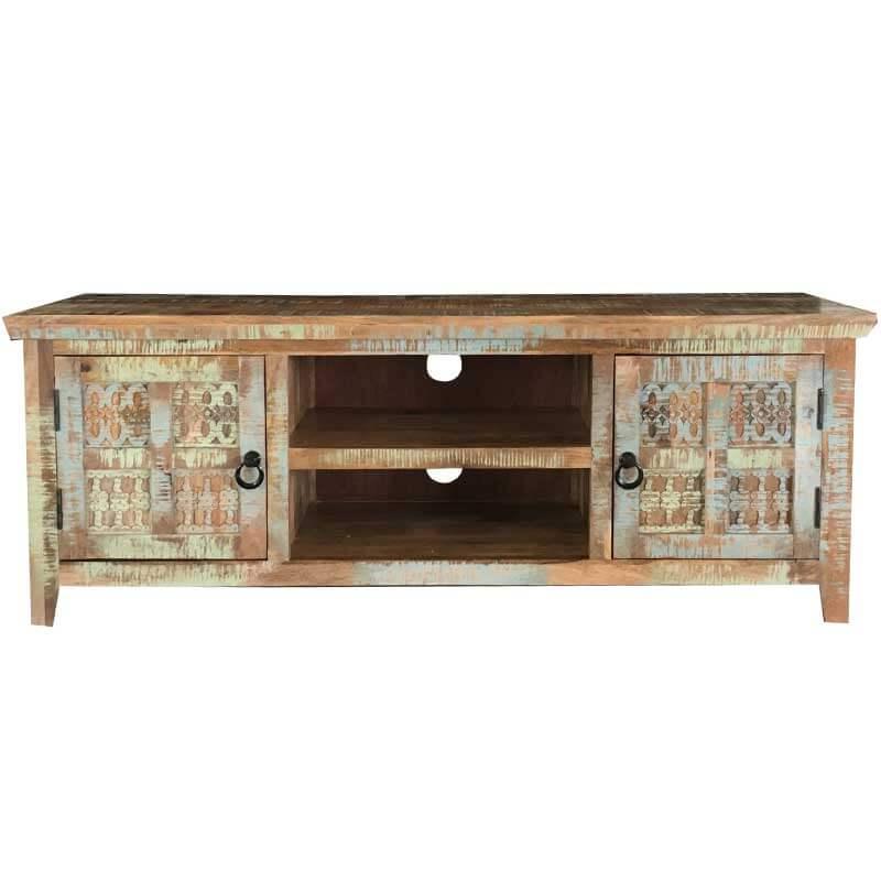 Aravali 2 Door Plasma TV Unit | Mango Wood | Furniture Supplies UK