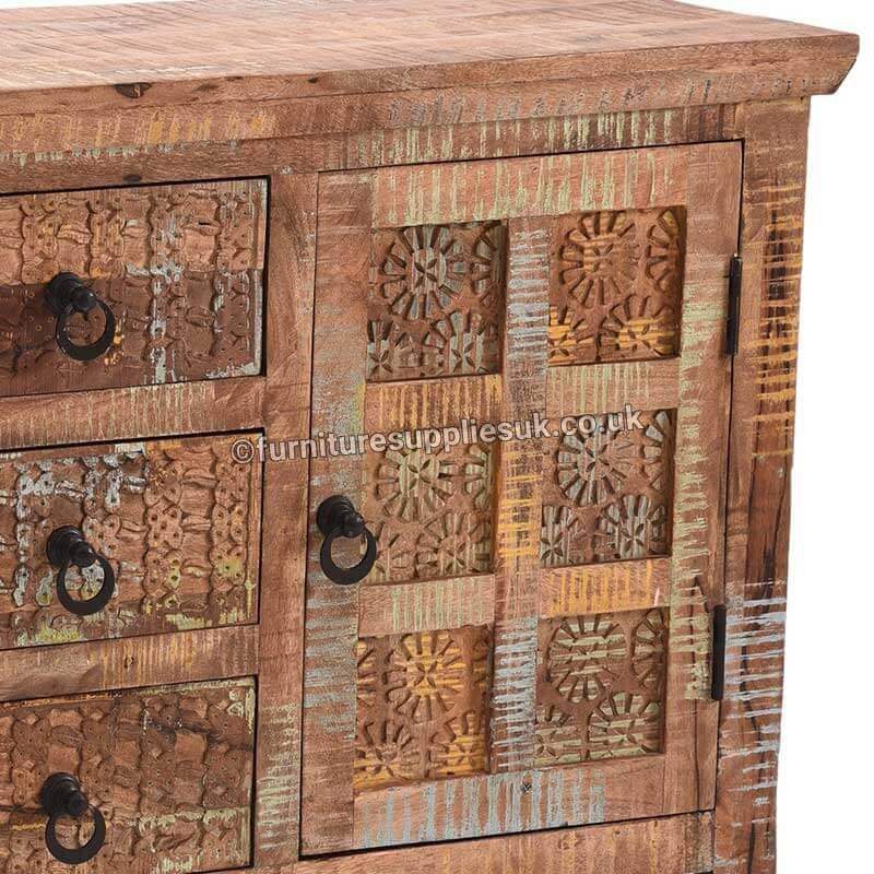 Light Wood Tone|Multi Aravali 3 Drawer 2 Door Sideboard | Mango Wood