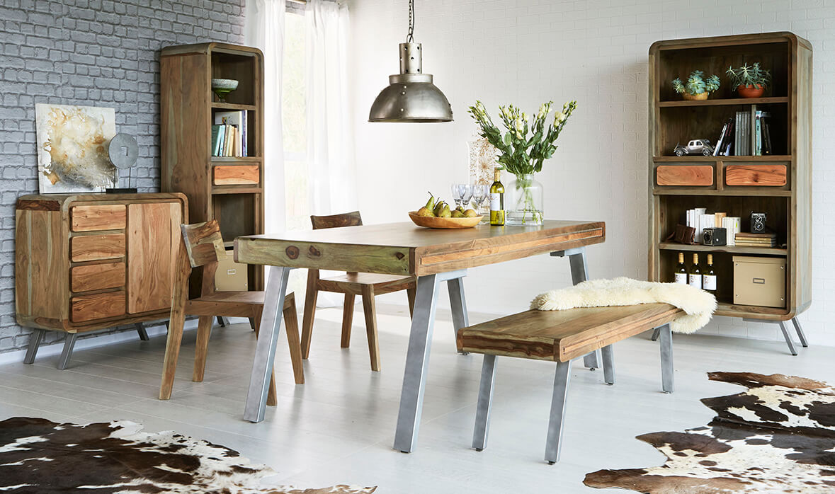 Medium Wood Tone Aspen Large Dining Table With 1 Bench 2 Chairs