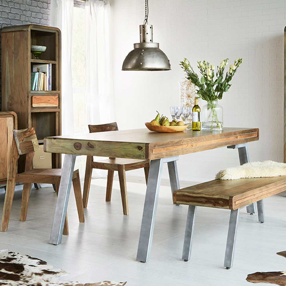 Aspen Large Dining Table With 1 Bench 2 Chairs | Furniture Supplies UK
