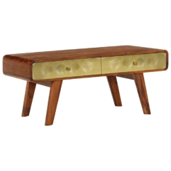 Banner Coffee Table Solid Sheesham Wood with Golden Print 90x50x40 cm | Furniture Supplies UK