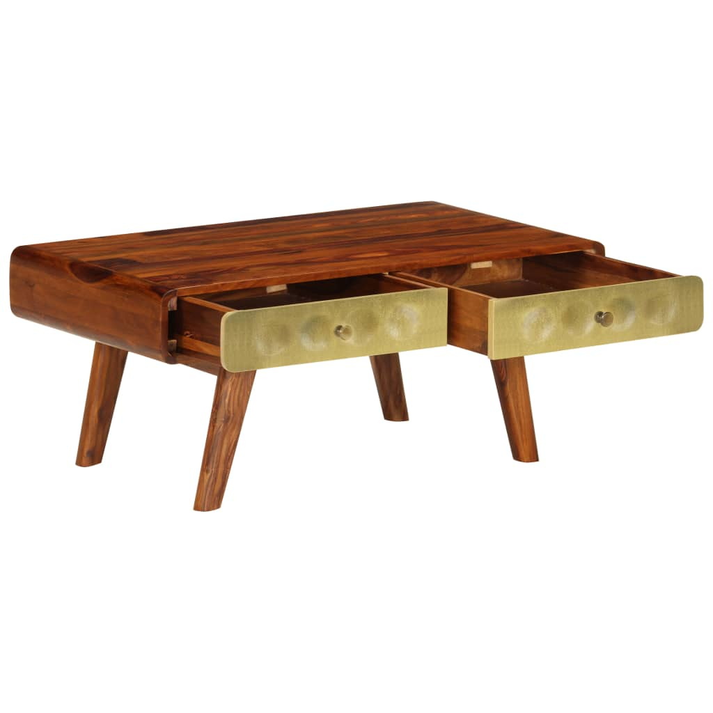Banner Coffee Table Solid Sheesham Wood with Golden Print 90x50x40 cm