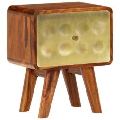 Banner Nightstand Solid Sheesham Wood with Golden Print 49x40x30 cm | Furniture Supplies UK