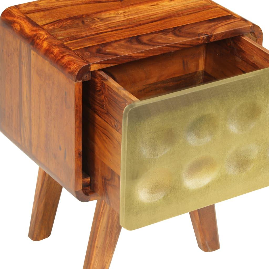 Banner Nightstand Solid Sheesham Wood with Golden Print 49x40x30 cm