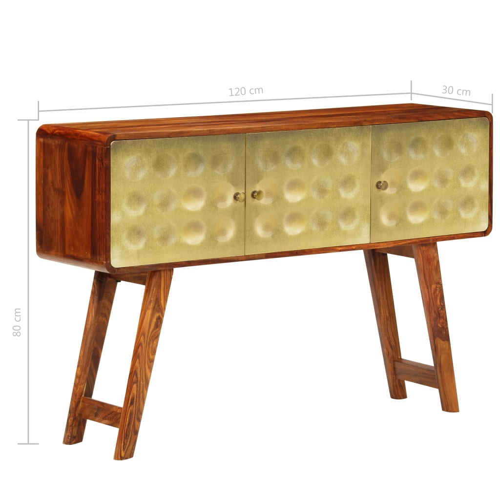 Banner Sideboard Solid Sheesham Wood with Golden Print 120x30x80 cm