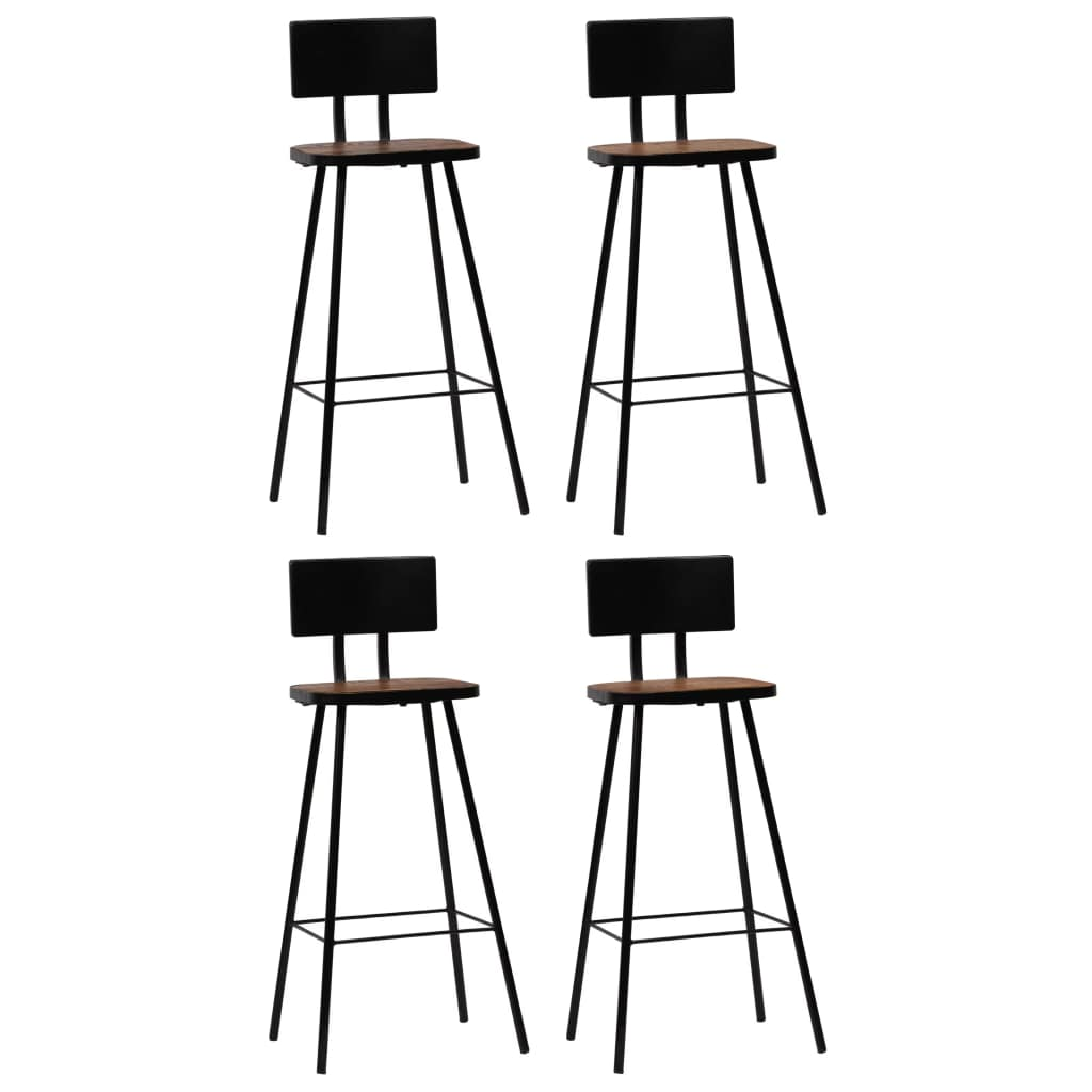 Bar Chairs 4 pcs Solid Reclaimed Wood Dark Brown | Furniture Supplies UK