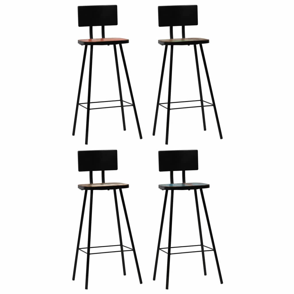 Bar Chairs 4 pcs Solid Reclaimed Wood Multicolour | Furniture Supplies UK
