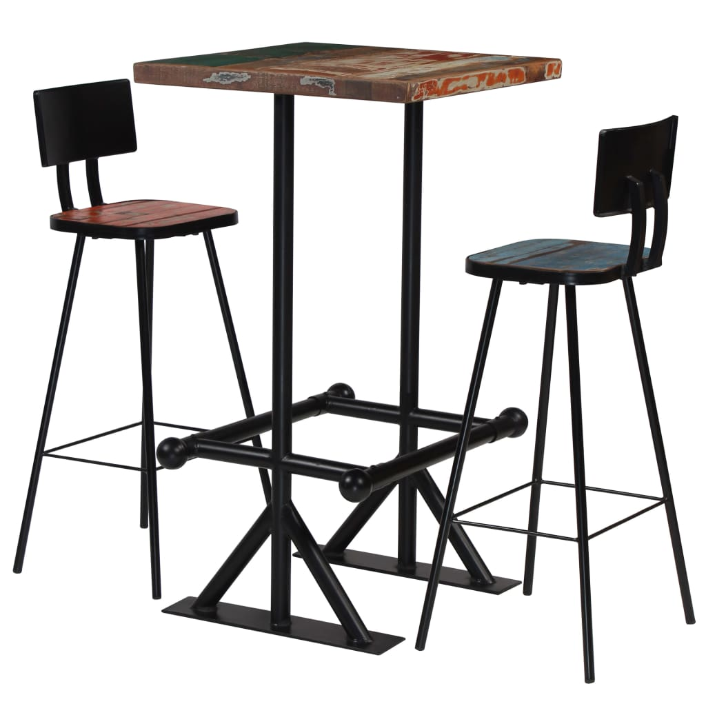 Bar Set 3 Piece Solid Reclaimed Wood Multicolour | Furniture Supplies UK